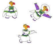 Buzzie in his space ranger uniform in 3 poses by yakkowarnermovies101-dam8pta