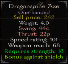 DragonSpine Axe Stats