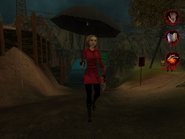 Woman in raincoat with umbrella 002