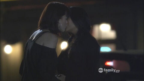 Lindsey Shaw and Shay Mitchell Lesbian Kiss Images from Pretty Little Liars