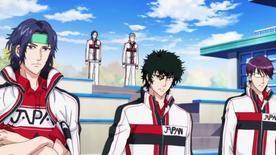 Yukimura, Kirihara and Yagyuu in 2nd Stringer white uniform
