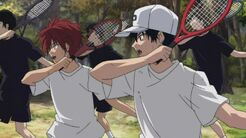 Kintaro and Ryoma training together at the U-17 Camp mountains