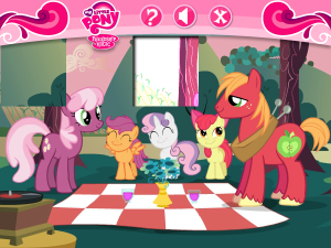 File:300px-Cheerilee and Bigmac with CMC picnic.png
