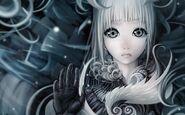 Women gloves gray long hair gray eyes white hair soft shading anime girls faces original character www.artwallpaperhi.com 86