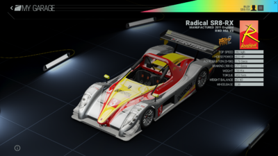 Project Cars Garage - Radical SR8-RX