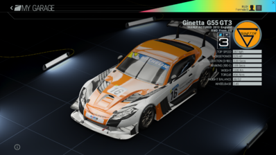 Project Cars Garage - Ginetta G55 GT3