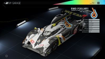 Project Cars Garage - RWD P30 LMP1