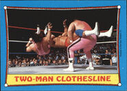 1987 WWF Wrestling Cards (Topps) Two-Man Clothesline 22