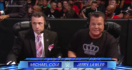 Michael Cole and Jerry Lawler, without Byron Saxton