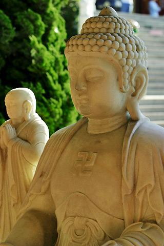 File:Buddha image - stone - with disciple.jpg
