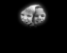 Human eyesight two children and ball with retinitis pigmentosa or tunnel vision