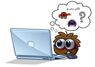 Puffle Brown Using Laptop with Mouse