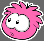 Hot pink puffle stamp pin