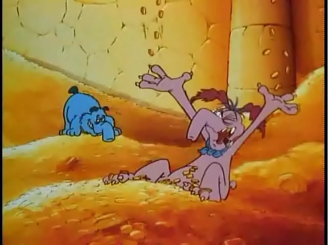 File:Cyril in his Vault with all his money in the opening credits with Snag.png
