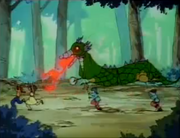 Ranma and Akane run from Fire Dragon