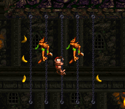 Chain Link Chamber - Diddy and two Klingers - Donkey Kong Country 2 (SNES)