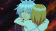 Elie hugs Haru