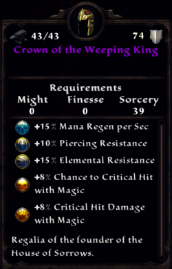 Crown of the Weeping King Inventory