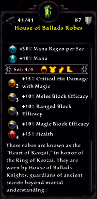 House of Ballads Robes Inventory