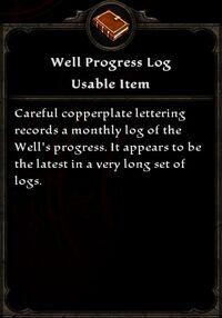 Well Progress Log