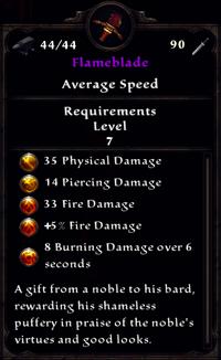 Flameblade Inventory
