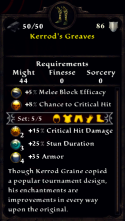 Kerrod's Greaves Inventory