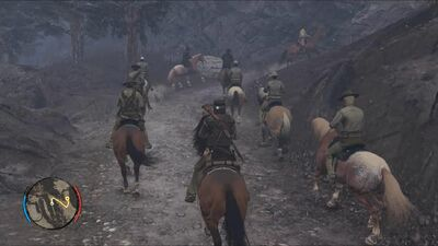 American Army riding into battle