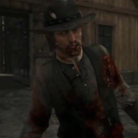 John Marston siendo fusilado por el <a href=