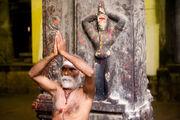 Indian sadhu performing namaste