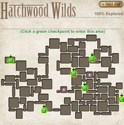 A map of the checkpoints of Hatchwood Wilds