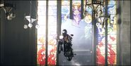 Alice breaking into the church using motorcycle