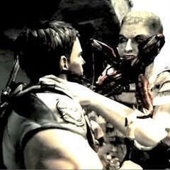 A Majini grabs Chris's shoulders