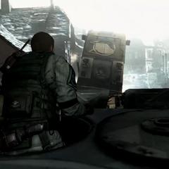 Chris during a war in an unknown battlefield