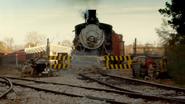 Train crashing through the gates