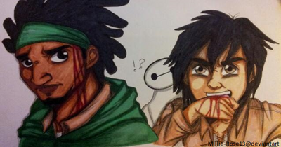Attack on big hero 6; wasabi and hiro by millie rose13-d8638oj