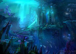 Undersea city art blue fantasy abstract hd-wallpaper-1867999