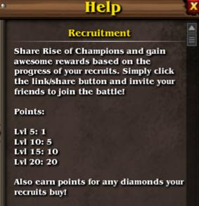 Recruitment help menu