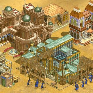 Workers in a West Asian nation construct the Crystal Palace, one of the Wonders of the game.