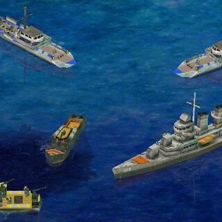 Light naval units (the destroyer is for show and is treated as a medium-powered warship)