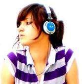 Girl with earphones by Szokata