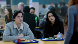 Season 1 Episode 13 The Sweet Hereafter Veronica and Jughead greeted by Cheryl