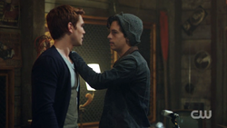Season 1 Episode 7 In a Lonely Place Archie and Jughead in the garage