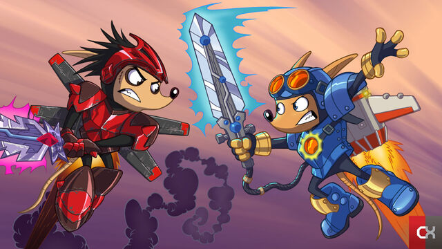 File:Sparkster vs. Axle Gear (Rocket Knight 2010 Official Artwork).jpg