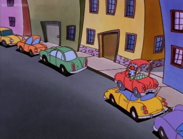 File:Rocko's car on parked yellow car.png