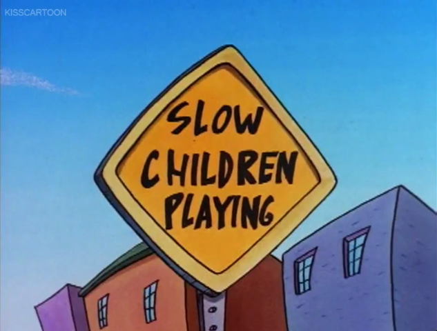 File:Slow Children Playing Sign (Rocko's Modern Life, Driving Mrs. Wolfe).png