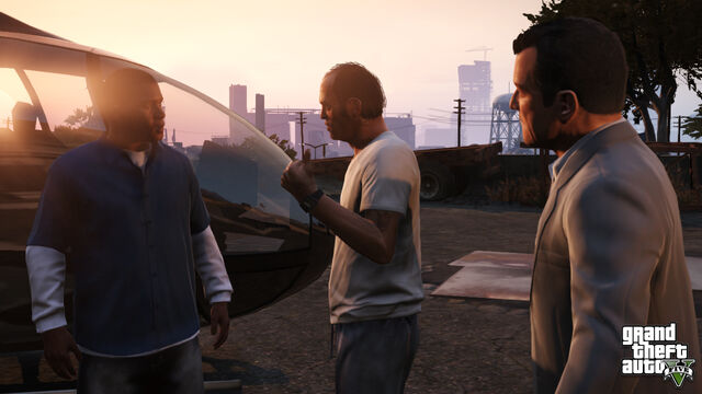 File:Michael, Trevor and Franklin in The Extraction.jpg