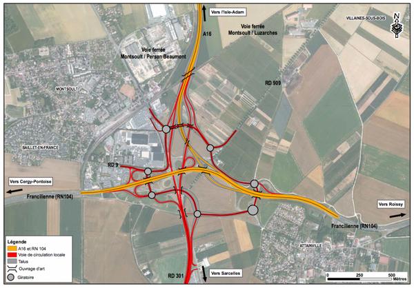Réaménagement du carrefour de la Croix-Verte dans le cadre du prolongement de l'A16. © DREIF