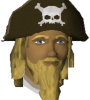 The chat head of Jiblix in-game. Jiblix has a long blond beard, long blond hair, and he is wearing a brown hat with a skull imprinted on it.