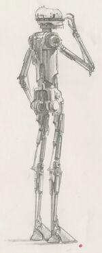 Эскиз дроида-убийцы, впоследствии ставшего EV-9D9.