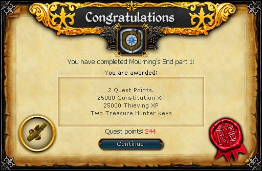 Mourning's End Part I reward